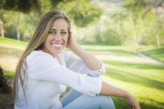 Pretty Teen Woman Outdoors Royalty Free Stock Photos