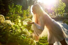 Free Pretty Teenage Girl 14-16 Year Old With Curly Long Blonde Hair In The Green Park With White Flower In A Summer Day Outdoors And Royalty Free Stock Photos - 176642758