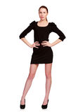 Pretty teenage girl in black dress Royalty Free Stock Image