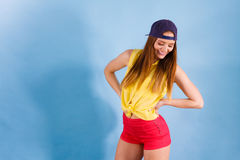Pretty teenage girl in fashionable clothes. Stock Image