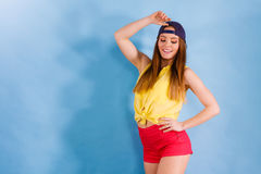 Pretty teenage girl in fashionable clothes. Stock Photo