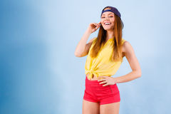 Pretty teenage girl in fashionable clothes. Stock Images