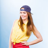 Pretty teenage girl in fashionable clothes. Royalty Free Stock Images