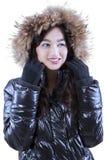 Pretty teenage girl with fur jacket Stock Photo