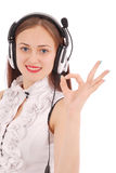Pretty teenage girl listening music on her headphones stock image