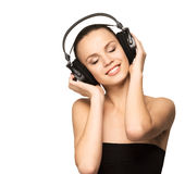 A pretty teenage girl listening to the music Royalty Free Stock Photography