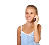 Pretty teenage girl with mobile phone Stock Photography