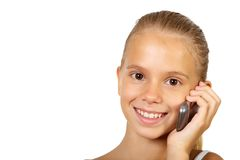 Pretty teenage girl with mobile phone Stock Images