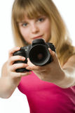 Pretty teenage girl with photo camera Stock Photography