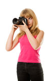 Pretty teenage girl with photo camera Stock Photo