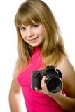 Pretty teenage girl with photo camera Royalty Free Stock Photos