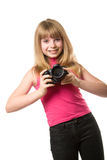 Pretty teenage girl with photo camera Royalty Free Stock Images