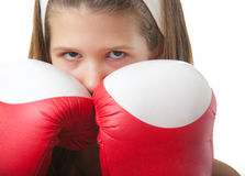 Pretty teenage girl with red boxing gloves Stock Images