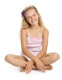 Pretty teenage girl sit on floor Stock Photo