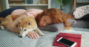 Pretty teenage girl sleeping at home hugging adorable shiba inu dog in sleep. Pretty teenage girl is sleeping at home hugging adorable shiba inu dog in sleep stock video footage
