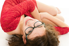 Pretty teenage girl upside down Royalty Free Stock Photography