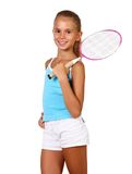 Pretty Teenage Girl With Racket Royalty Free Stock Photos