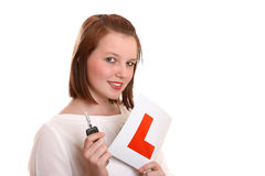 Pretty teenage Learner Driver Royalty Free Stock Image