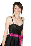 Pretty Teenager in Black Dress Stock Images