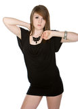 Pretty Teenager in Black Dress Royalty Free Stock Image