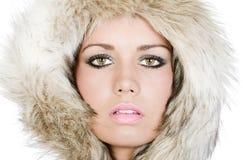 Pretty Teenager in Fur Hood Stock Photo