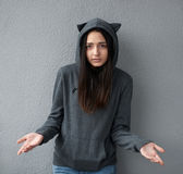 Pretty teenager girl asks  question Stock Photo