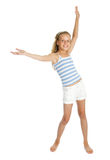 Pretty teenager girl with hands up Stock Images