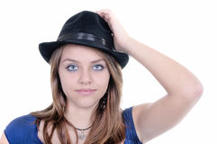 Pretty teenager girl posing at studio. Isolated Royalty Free Stock Photos