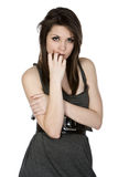 Pretty Teenager in Grey Dress Stock Images
