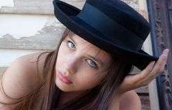 Pretty Teenager In Hat Royalty Free Stock Image