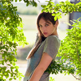 Pretty Teenager Outside By Trees Stock Photography