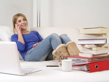 Pretty teenager using smartphone at home Royalty Free Stock Photos