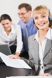 Pretty telephone operator Royalty Free Stock Photography