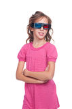 Pretty ten year girl in stereo glasses. Isolated on white background royalty free stock image