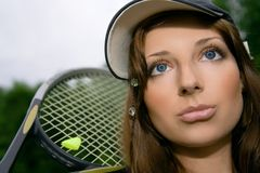 Pretty tennis player Stock Images