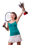 Pretty tennis player with cup isolated on white Stock Photography