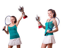 The pretty tennis player with cup isolated on white. Pretty tennis player with cup isolated on white stock photography