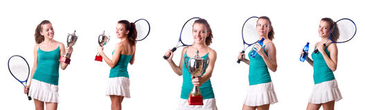 The pretty tennis player with cup isolated on white. Pretty tennis player with cup isolated on white royalty free stock photo
