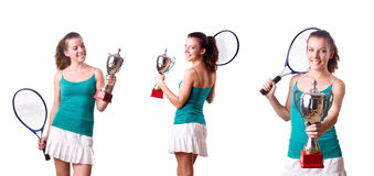 The pretty tennis player with cup isolated on white. Pretty tennis player with cup isolated on white royalty free stock photos