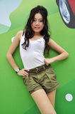 Pretty Thai girl with long hair and sleeveless top Royalty Free Stock Photo