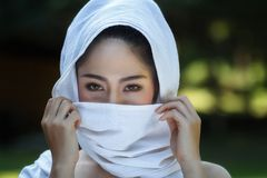 Thai girl in traditional thai costumes stock photography