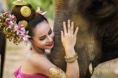Pretty thai girl in traditional thai dress royalty free stock photo