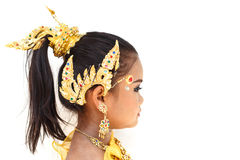 Pretty Thai girl wearing typical Thai dress. Identity culture of Thailand stock photo