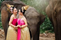 Pretty thai girls in traditional thai costumes stock images