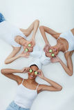 Pretty three girls are relaxing at spa royalty free stock photography