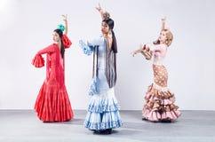 Pretty three young flamenco dancer in beautiful dress. Stock Photo