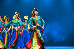 Pretty tibetan dancing girls Stock Photography