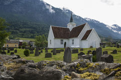 Pretty timber church in Olden Norway Royalty Free Stock Photos