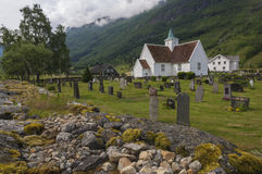 Pretty timber church in Olden Norway Stock Image