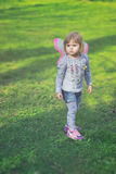 Pretty toddler girl with butterfly wings Royalty Free Stock Image